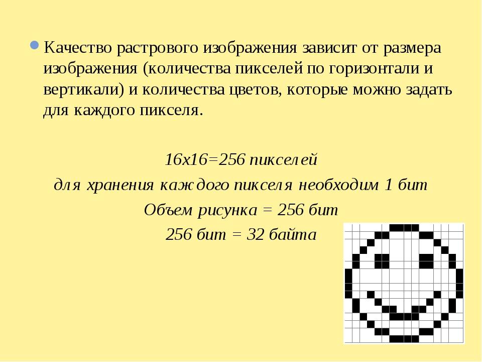 Качество растрового изображения зависит от размера изображения (количества пи...