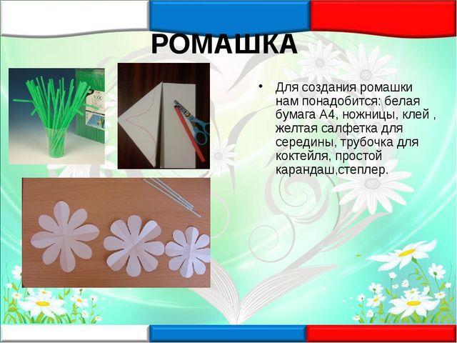 РОМАШКА Для создания ромашки нам понадобится: белая бумага А4, ножницы, клей...