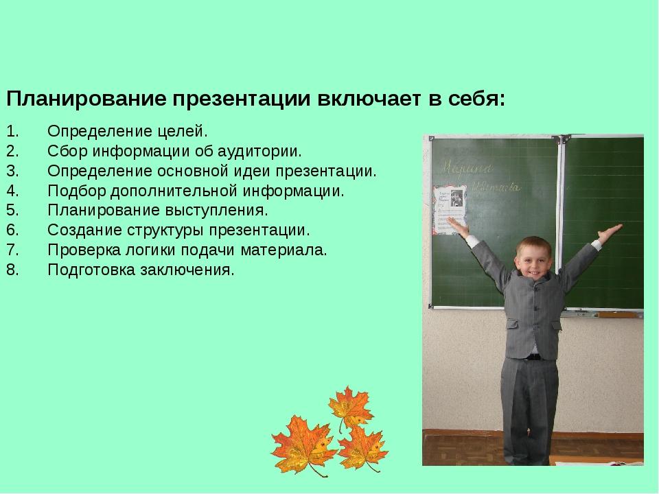 Планирование презентации включает в себя: 1. Определение целей. 2....