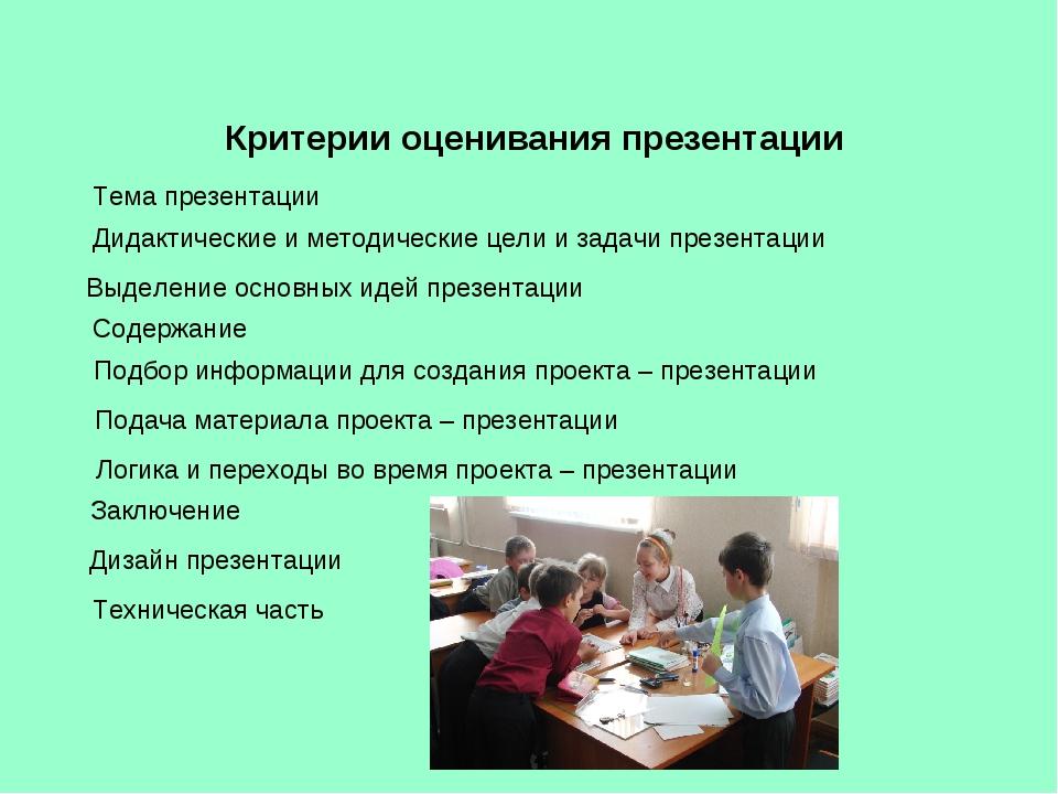 Критерии оценивания презентации Тема презентации Дидактические и методические...