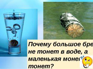 Почему большое бревно не тонет в воде, а маленькая монета тонет?