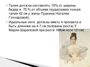 Талия должна составлять 70% от ширины бедер и 75 % от объема груди(самая тонк