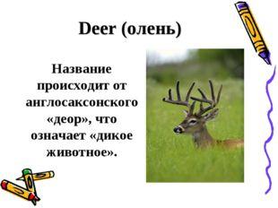 Deer (олень) Название происходит от англосаксонского «деор», что означает «д