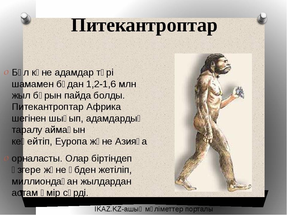 Питекантроптар Бұл көне адамдар түрі шамамен бұдан 1,2-1,6 млн жыл бұрын пайд...