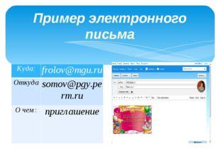 Пример электронного письма Куда: frolov@mgu.ru Откуда somov@pgy.perm.ru О чем