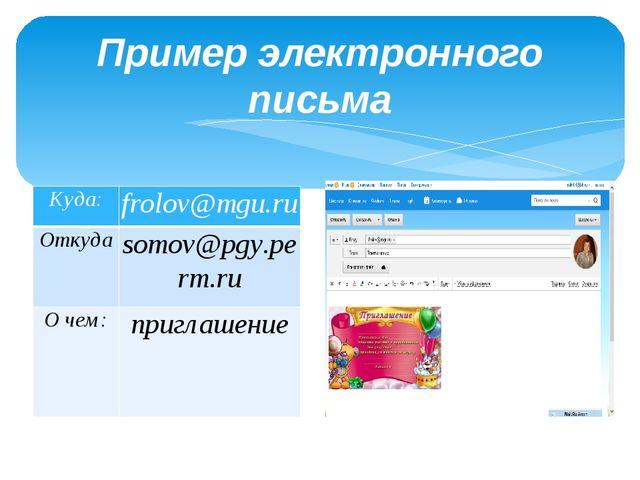 Пример электронного письма Куда: frolov@mgu.ru Откуда somov@pgy.perm.ru О чем...