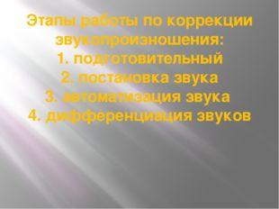 Этапы работы по коррекции звукопроизношения: 1. подготовительный 2. постановк