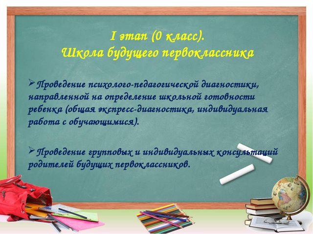 I этап (0 класс). Школа будущего первоклассника Проведение психолого-педагоги...
