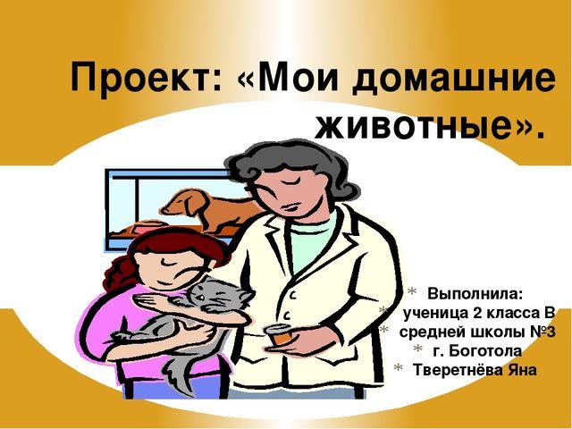 Выполнила: ученица 2 класса В средней школы №3 г. Боготола Тверетнёва Яна Про...