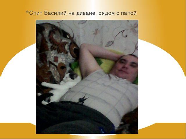 Спит Василий на диване, рядом с папой