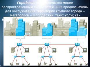 Городские сети являются менее распространенным типом сетей. Они предназначены