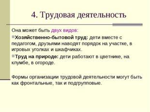 4. Трудовая деятельность Она может быть двух видов: Хозяйственно-бытовой труд