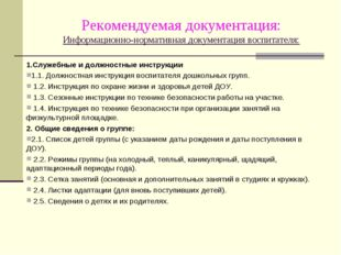 Рекомендуемая документация: Информационно-нормативная документация воспитател
