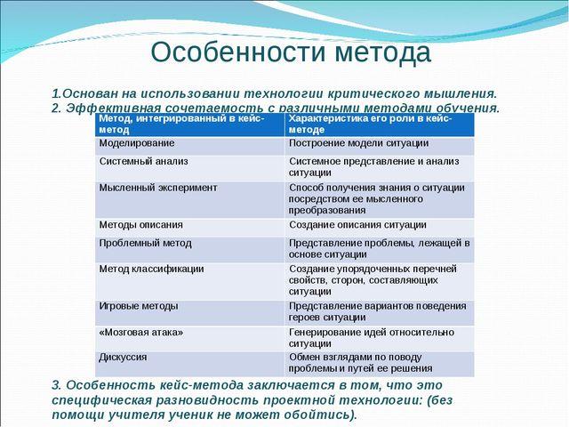 Особенности метода 1.Основан на использовании технологии критического мышлени...