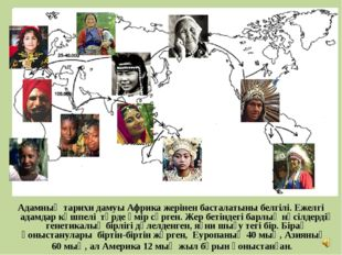 Адамның тарихи дамуы Африка жерінен басталатыны белгілі. Ежелгі адамдар көшпе
