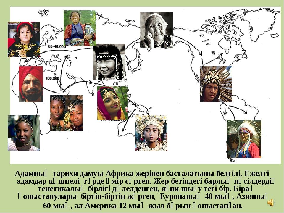 Адамның тарихи дамуы Африка жерінен басталатыны белгілі. Ежелгі адамдар көшпе...