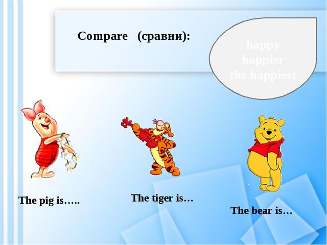 Compare (сравни): The pig is….. The tiger is… The bear is… happy happier the...