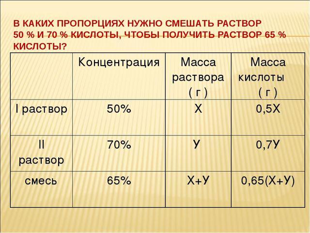 В КАКИХ ПРОПОРЦИЯХ НУЖНО СМЕШАТЬ РАСТВОР 50 % И 70 % КИСЛОТЫ, ЧТОБЫ ПОЛУЧИТЬ...