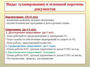 Виды планирования и основной перечень документов Перспективное (10-15 лет): -