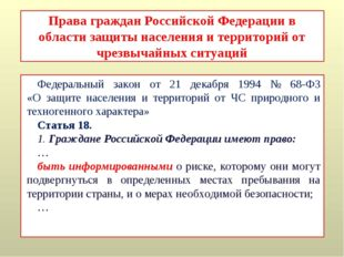 Права граждан Российской Федерации в области защиты населения и территорий от