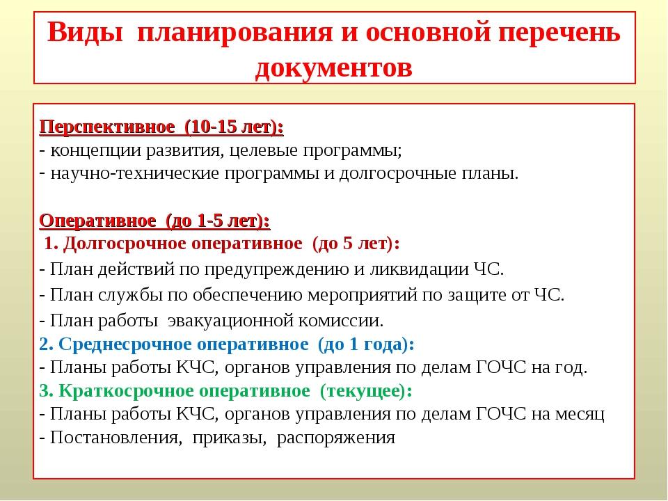 Виды планирования и основной перечень документов Перспективное (10-15 лет): -...