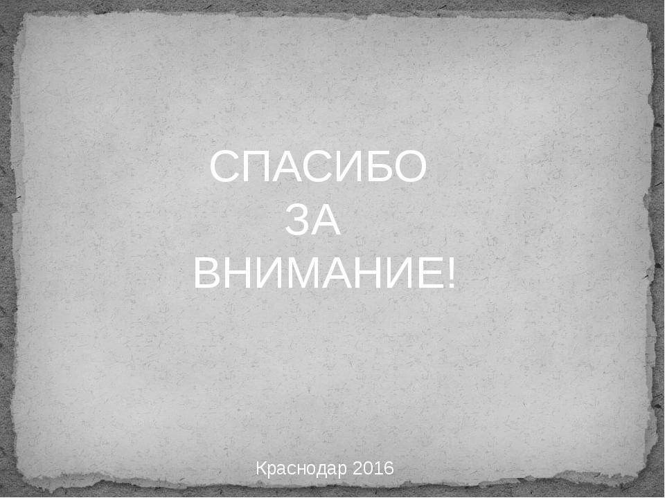 СПАСИБО ЗА ВНИМАНИЕ! Краснодар 2016