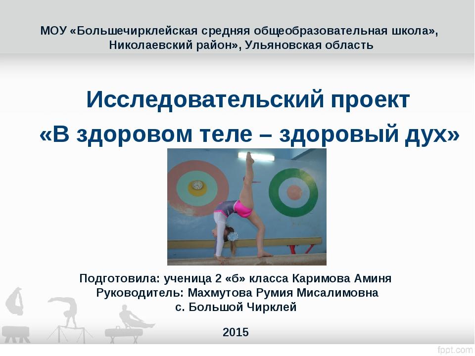 МОУ «Большечирклейская средняя общеобразовательная школа», Николаевский район...