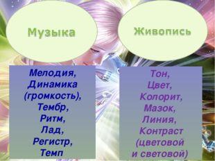 Мелодия, Динамика (громкость), Тембр, Ритм, Лад, Регистр, Темп Тон, Цвет, Кол