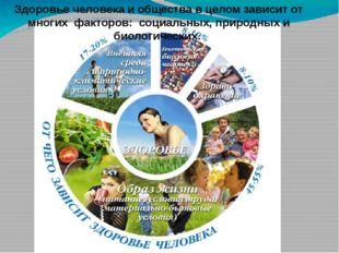Здоровье человека и общества в целом зависит от многих факторов: социальных,