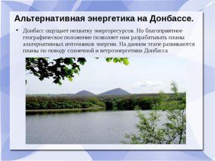 Альтернативная энергетика на Донбассе. Донбасс ощущает нехватку энергоресурсо