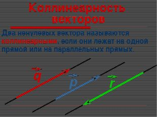Коллинеарность векторов Два ненулевых вектора называются коллинеарными, если