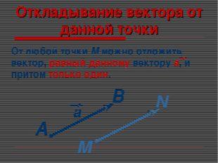 Откладывание вектора от данной точки А В М N