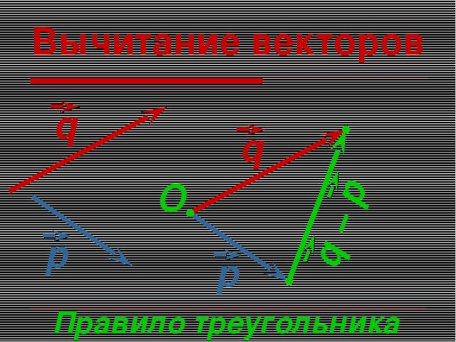 Вычитание векторов Правило треугольника O