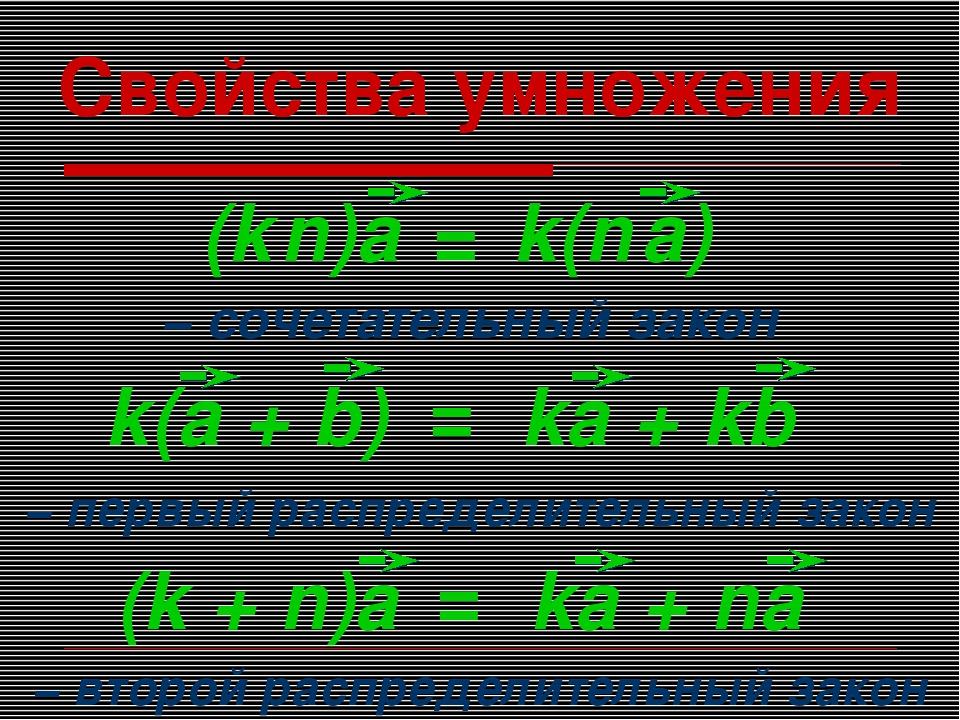 Свойства умножения − первый распределительный закон − сочетательный закон − в...