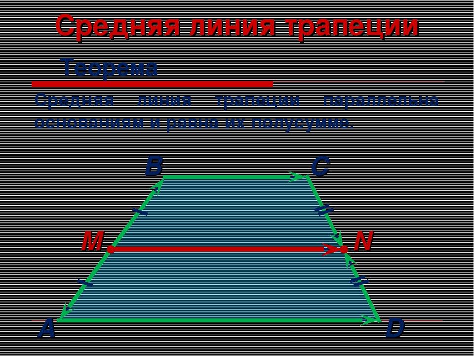 Средняя линия трапеции Теорема Средняя линия трапеции параллельна основаниям...