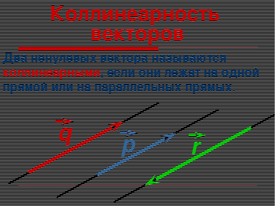 Коллинеарность векторов Два ненулевых вектора называются коллинеарными, если...