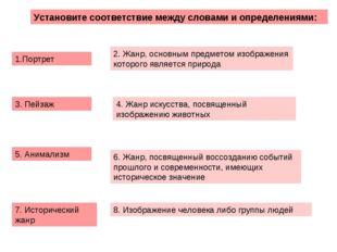 Установите соответствие между словами и определениями: 1.Портрет 3. Пейзаж 5.