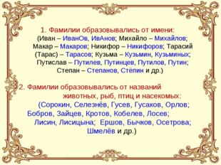 1. Фамилии образовывались от имени: (Иван – ИванОв, ИвАнов; Михайло – Михайло