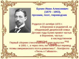 Бунин Иван Алексеевич (1870 - 1953), прозаик, поэт, переводчик Родился 22 окт
