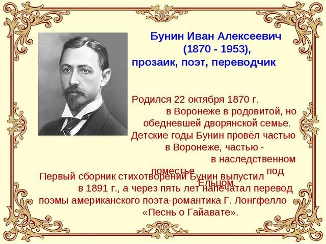 Бунин Иван Алексеевич (1870 - 1953), прозаик, поэт, переводчик Родился 22 окт...