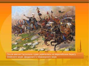 После взятия Галлиполи турки укрепились на европейском берегу Эгейского моря,