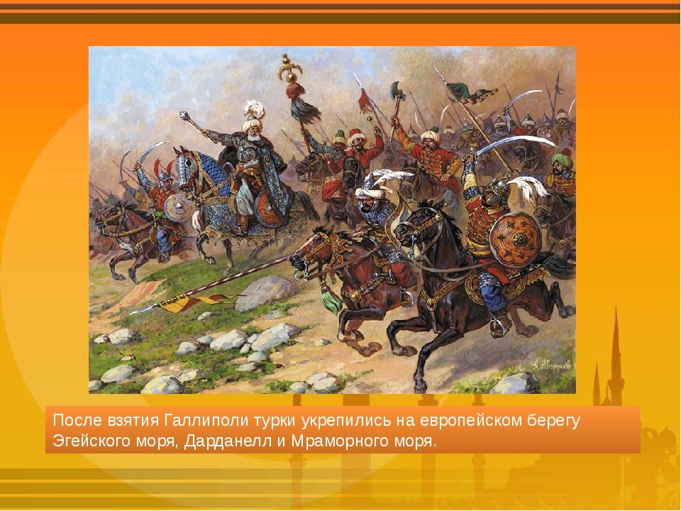 После взятия Галлиполи турки укрепились на европейском берегу Эгейского моря,...