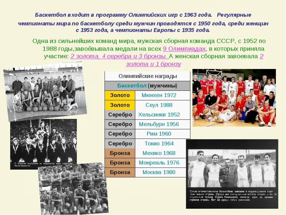 Баскетбол входит в программу Олимпийских игр с 1963 года. Регулярные чемпиона...