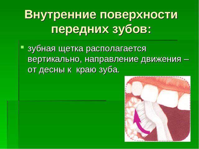 Внутренние поверхности передних зубов: зубная щетка располагается вертикально...