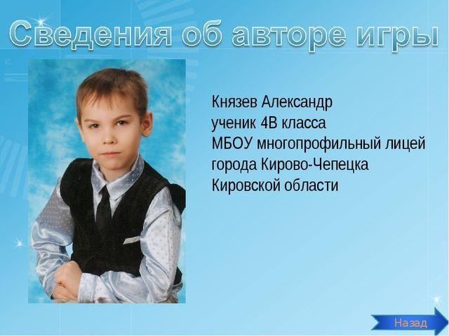 Князев Александр ученик 4В класса МБОУ многопрофильный лицей города Кирово-Че...