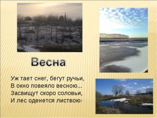 Уж тает снег, бегут ручьи, В окно повеяло весною... Засвищут скоро соловьи, И
