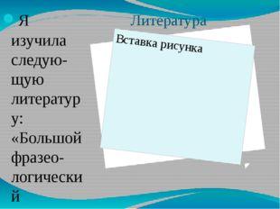 Литература Я изучила следую-щую литературу: «Большой фразео-логический словар