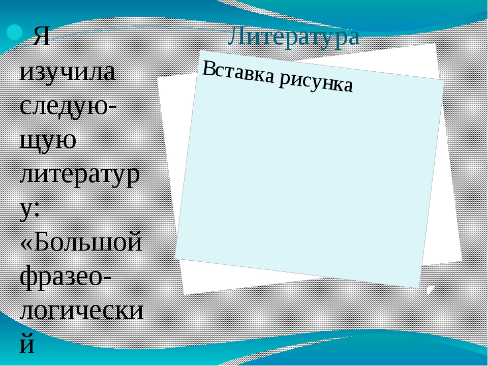 Литература Я изучила следую-щую литературу: «Большой фразео-логический словар...