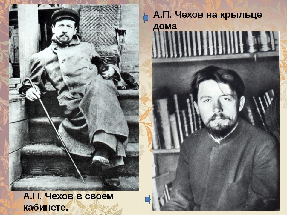 А.П.Чеховна крыльце дома с собакой Хиной. А.П.Чеховв своем кабинете. Мар...