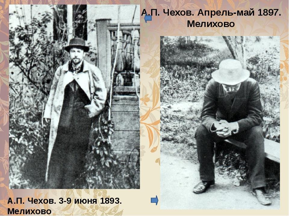А.П. Чехов. Апрель-май 1897. Мелихово А.П. Чехов. 3-9 июня 1893. Мелихово